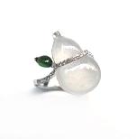 A7647 天然玻璃種翡翠戒指 主石11.5*18mm
