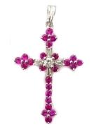 A2946天然紅寶石十字架墜子 紅寶石24顆共0.77克拉