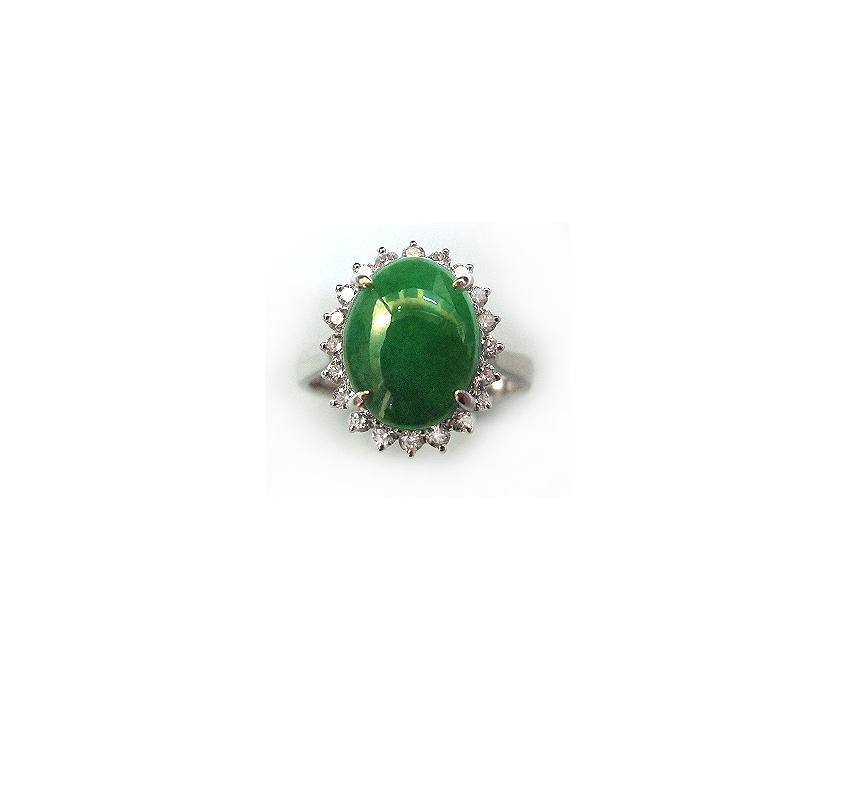 A7629 緬甸天然翠玉戒指 主石8.5*11.5mm