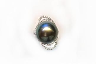 A7756 南洋黑珍珠戒指 主石14.1mm