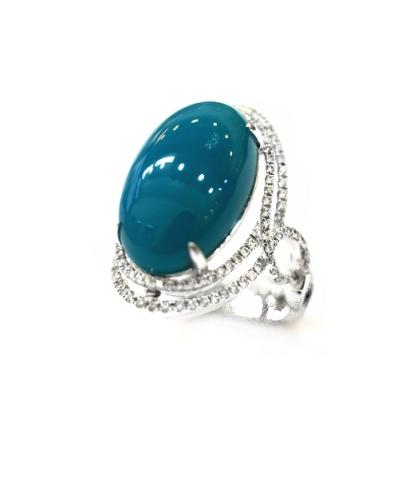 A7698 天然藍玉髓戒指 主石10.95克拉