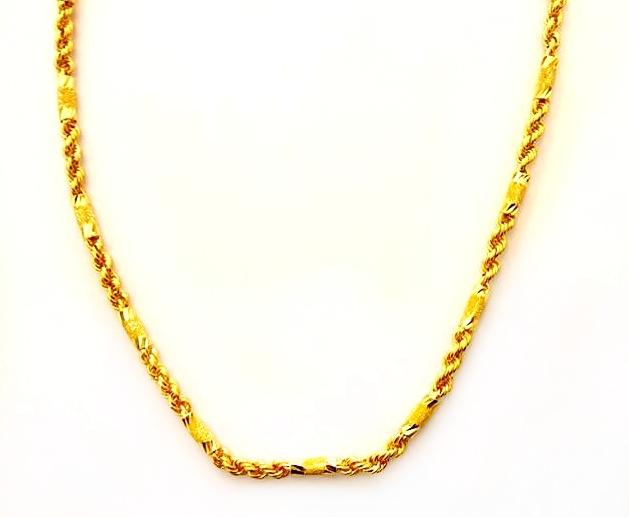 GON796 黃金項鍊(管狀麻花) 重量約1兩2錢