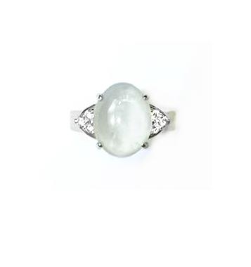 A7414 緬甸天然玻璃種翡翠戒指 主石9.5*12mm